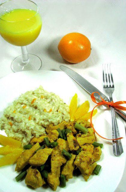 Pomarańczowy Kurczak z Fasolką i Ryżem Kokosowym