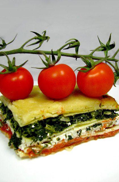 Lasagne ze Szpinakiem, Serem i Pomidorami