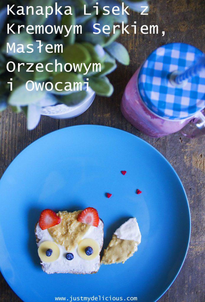 Kanapka z Masłem Orzechowym, Serkiem i Owocami, Lisek