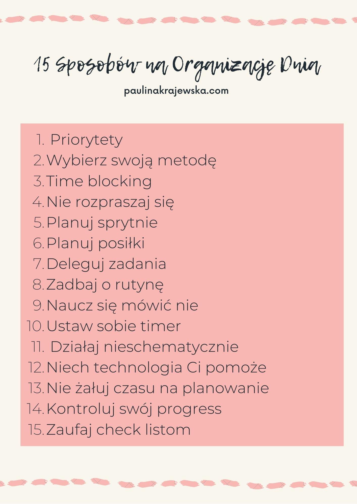 15 sposobów na organizację dnia