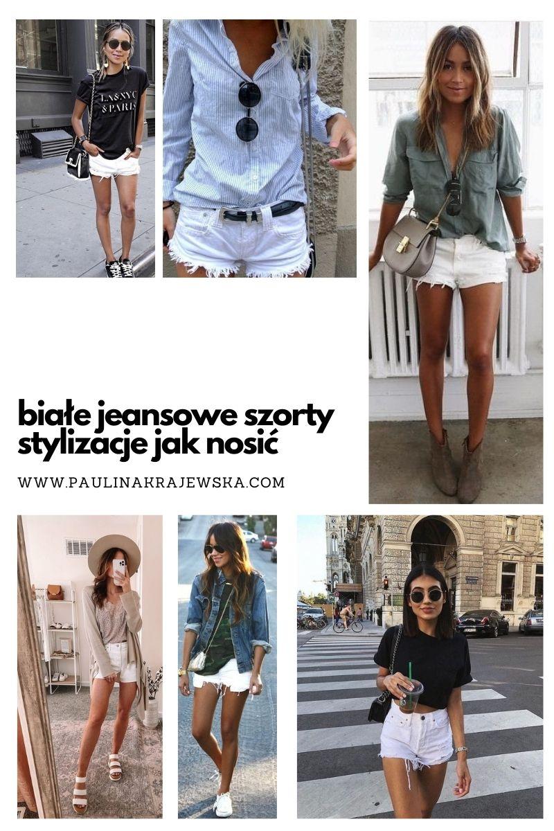 białe szorty jeansowe stylizacje jak nosić